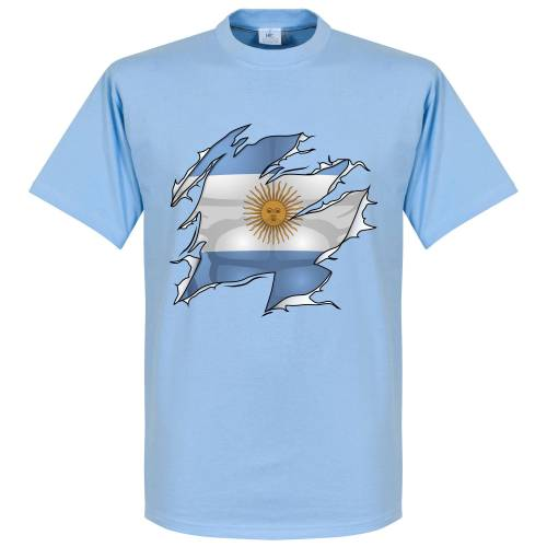 Retake Argentinien Ripped Fahne T-Shirt - hellblau - L