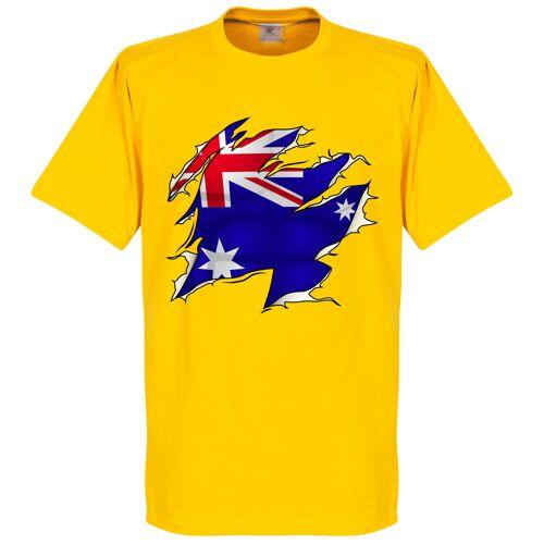Retake Australien Ripped Fahne T-Shit - gelb - XS