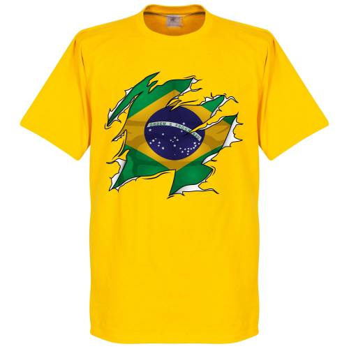 Retake Brasilien Ripped Fahne T-Shirt - gelb - L