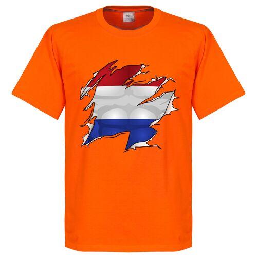 Retake Holland Ripped Fahne T-Shirt - orange - M