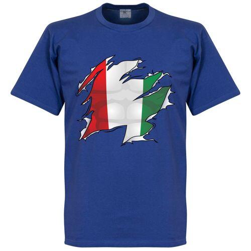 Retake Italien Ripped Fahne T-Shirt - blau - XL