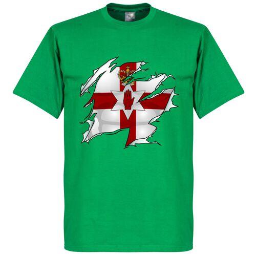 Retake Nordirland Ripped Fahne T-Shirt - grün - XS