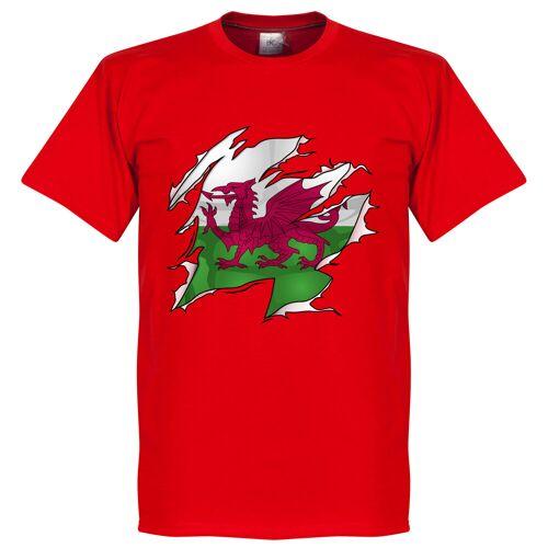 Retake Wales Ripped Fahne T-Shirt - rot - L