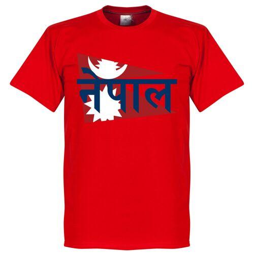 Retake Nepal Fahne T-Shirt - rot - XXL