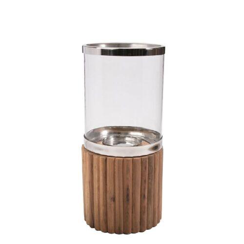 Wittkemper Windlicht Athene für Boden klein Teakholz Glas braun