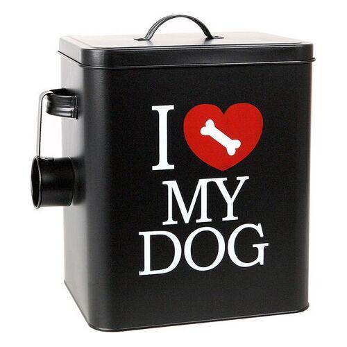 BigBuy Pets Hundefutter-Behälter aus Metall 112801 Schwarz