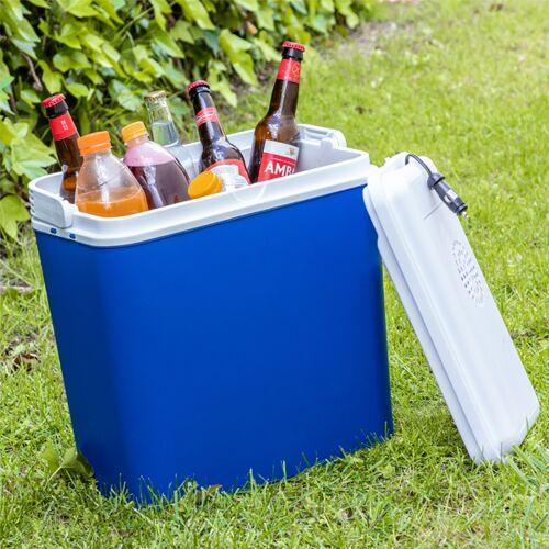 BigBuy Outdoor Excellent Tragbare Elektrische Kühlbox 24 L 12 V Blau Weiß