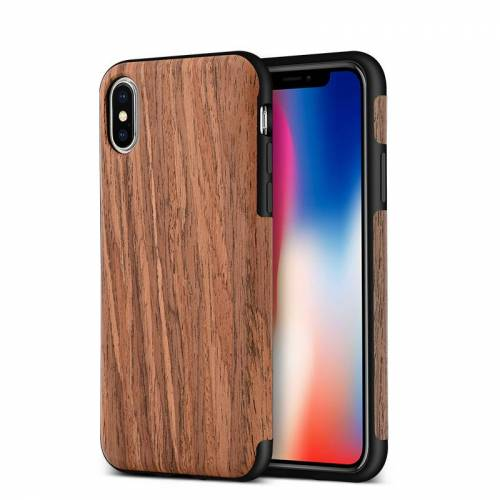 Keysion Handyhülle für iPhone X Holz und TPU Hellbraun B-...