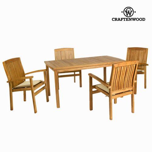 BigBuy Garden Tisch-Set mit 4 Stühlen Teakholz 150 x 90 x 75 cm by Cr...