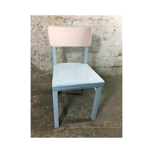 Wohnliebhaber Shabby Chic Stuhl Schminkstuhl Mädchen rosa blau Herz Weiß Upcycling Holz