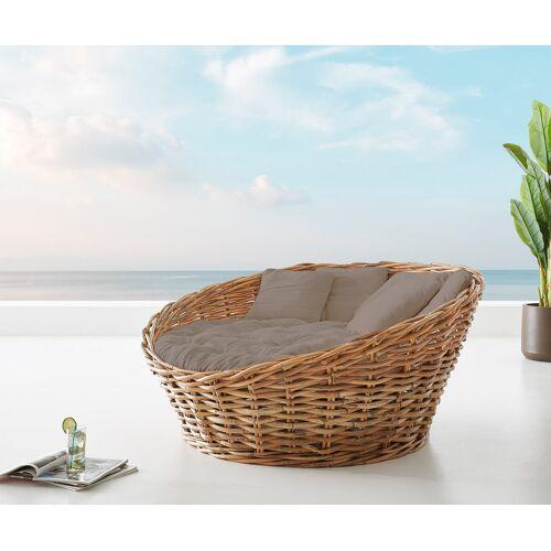 DELIFE Tagesbett Nilam 145x73 cm aus Rattan Natur Kissen braun Lounge