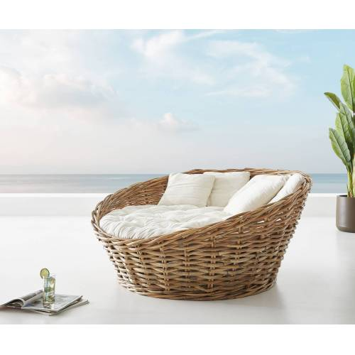 DELIFE Tagesbett Nilam 145x73 cm aus Rattan Natur Kissen weiß Lounge