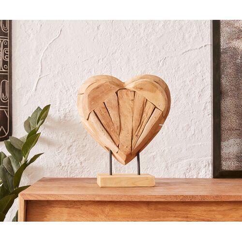 DELIFE Dekoobjekt Herz 30x10x30 cm Natur Teak Holz