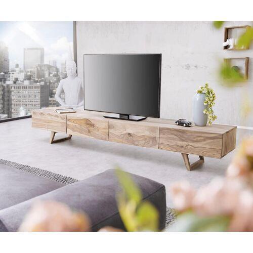 DELIFE Design-Lowboard Wyatt 220 cm Sheesham Natur 4 Schübe