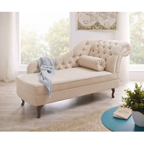 DELIFE Recamiere Patsy 185x75 cm Beige abgesteppt Chesterfield