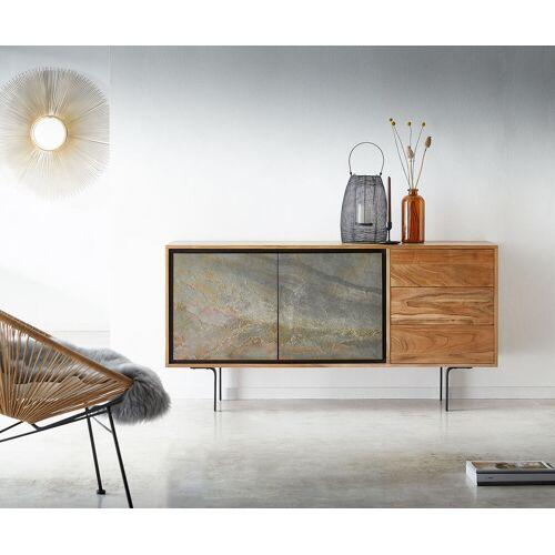 DELIFE Sideboard Juwelo 150 cm Akazie Natur mit Steinfurnier