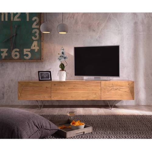DELIFE Designer-Lowboard Wyatt 175 cm Akazie Natur 2 Türen 1 Klappe