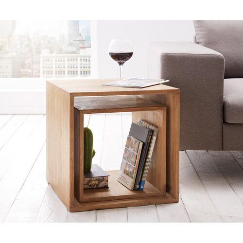 DELIFE Cube Teva 50x50 cm Teakholz Natur 2er Set Massivholz