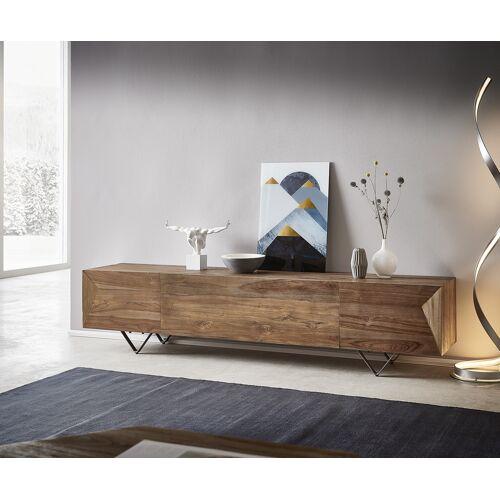 DELIFE Lowboard Wyatt 200x40 cm Natur Teak 4 Fächer
