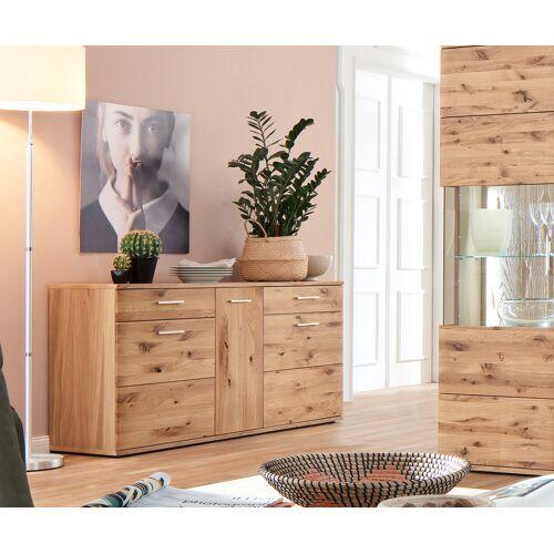 DELIFE Sideboard Algir 150 cm Eiche Natur 3 Schübe und 2 Türen