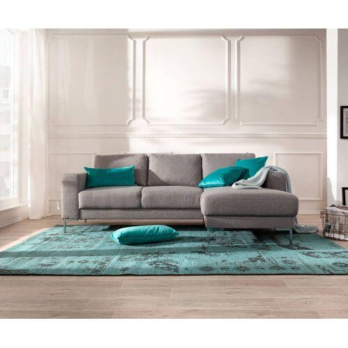 DELIFE Designer-Ecksofa Silas 235x147 cm Grau Ottomane Rechts