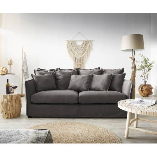 DELIFE Hussensofa Ayla 208x139 cm Khakibraun mit Kissen Couch