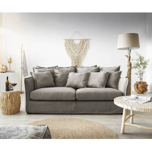 DELIFE Hussensofa Ayla 208x139 cm Beige mit Kissen Couch
