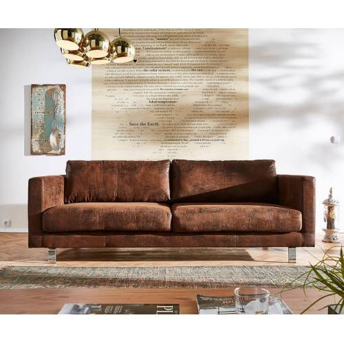 DELIFE 3-Sitzer Baracca 220x95 Braun Antik Optik Bauhausstil Sofa