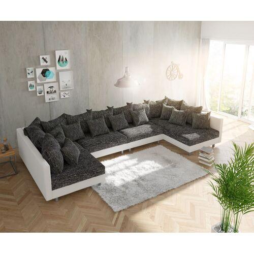 DELIFE Wohnlandschaft Clovis XL Weiss Schwarz modular