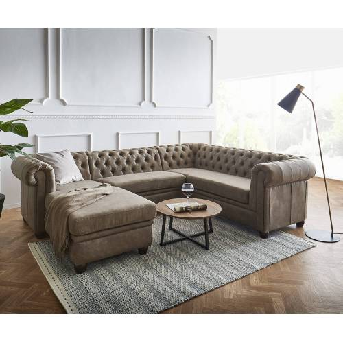 DELIFE Wohnlandschaft Chesterfield 266x88 cm Taupe Abgesteppt Ottomane Links