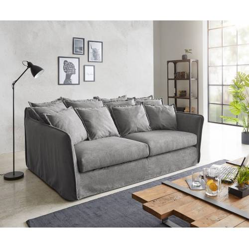 DELIFE Hussensofa Ayla 208x139 cm Taupe mit Kissen Couch