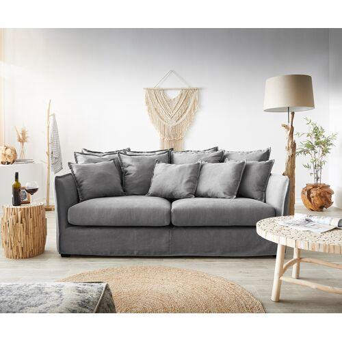 DELIFE Hussensofa Ayla 208x139 cm Grau mit Kissen Couch