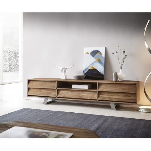 DELIFE Lowboard Eloi 200x40 cm Natur Teak 1 Fach 5 Schübe