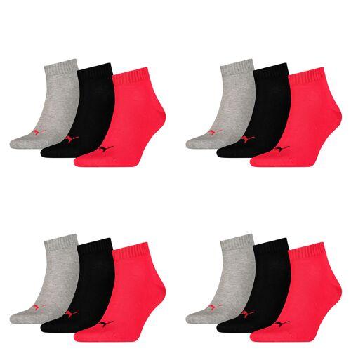 Puma Unisex Quarter Quarters Socken 12er Pack 43-46, 232 - black / red
