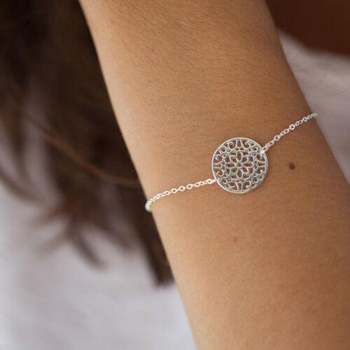 Elise et moi Armband mit Blumenornament aus Silber