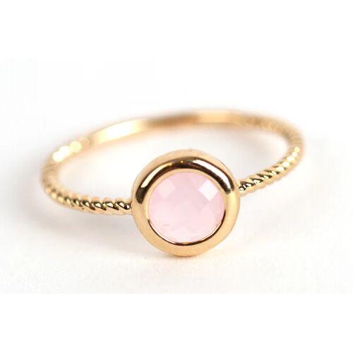 Elise et moi Ring mit rosa Stein, vergoldet