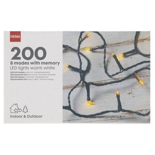 HEMA Lichterkette, 200 LED-Lämpchen, 8 Funktionen, 27.9 M