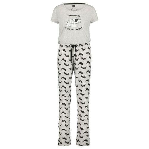 HEMA Damen-Pyjama Takkie Graumeliert