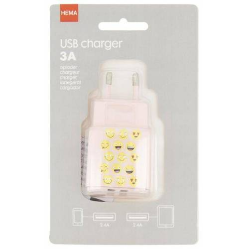 HEMA USB-Ladegerät, 3 A, Smileys