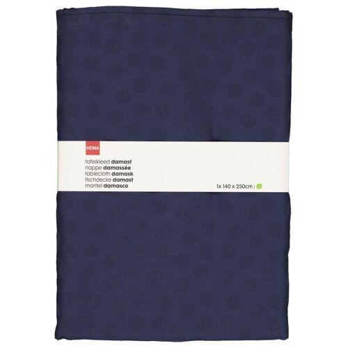 HEMA Damast-Tischdecke, 140 X 250 Cm, Baumwolle, Blau, Punkte