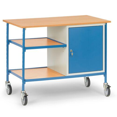 Fetra Rolltisch mit 2 Böden aus Holz und Stahlschrank