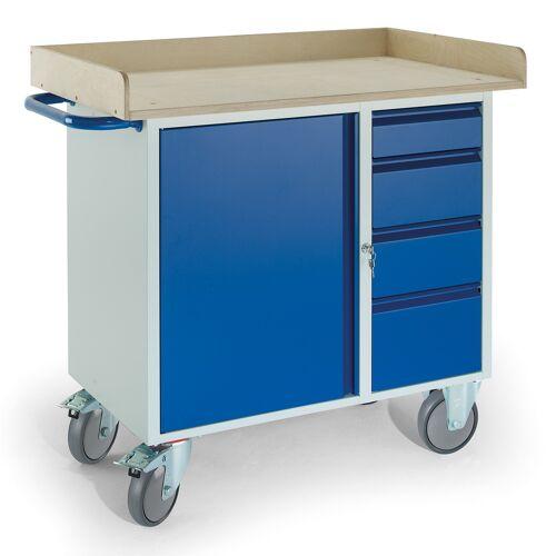 Rollcart Montagewagen mit Holzrand, 4 Schubladen und Stahlschrank