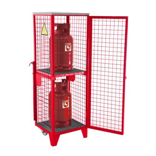Bauer Gasflaschen-Depot GFD-R 2, Feuerrot, 2 Türen, Drahtgitter für 2x 11 kg-Gasflaschen