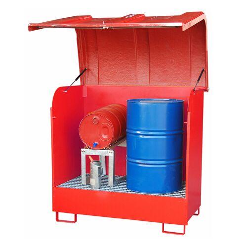Bauer Gefahrstoff-Depot GD-B für Außenbereich mit Spritzschutzwand und GFK-Haube, Feuerrot