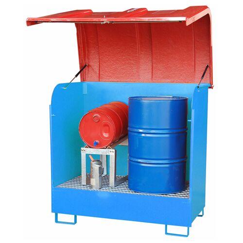 Bauer Gefahrstoff-Depot GD-B für Außenbereich mit Spritzschutzwand und GFK-Haube, Lichtblau