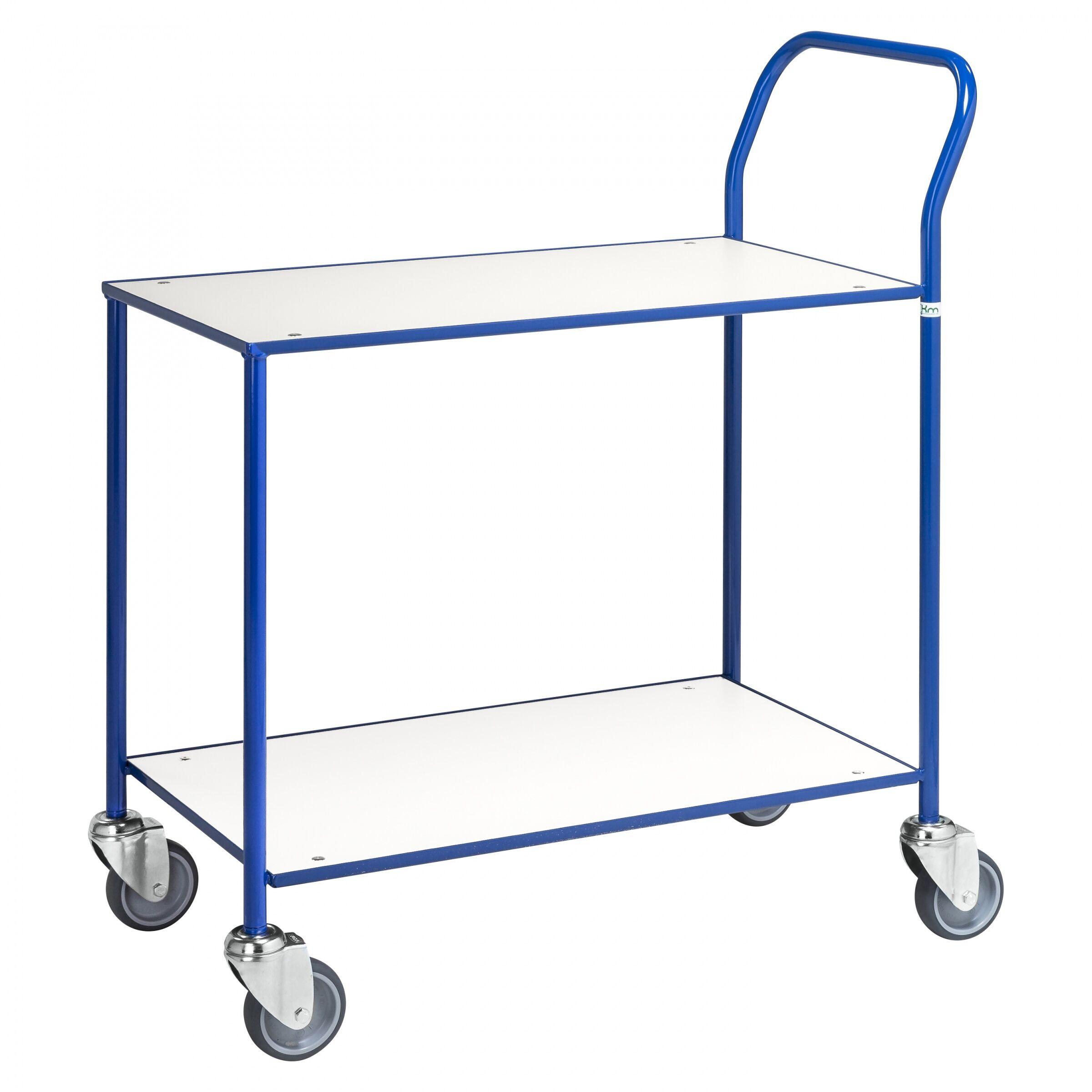 Kongamek Tischwagen voll verschweisst mit blauem Rahmen 755x430mm Ladefläche weiss