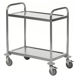 Kongamek Edelstahl- Tischwagen rostfrei mit 2 Böden 685x380mm ohne Umrandung und Bremse