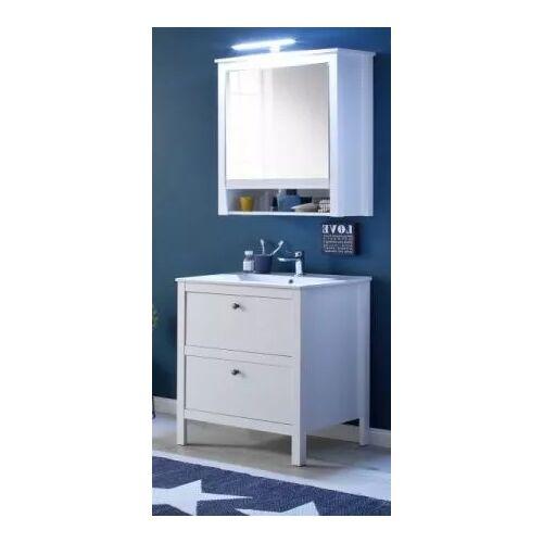 Badmöbel Set Ole weiß 3-teilig inkl. Waschbecken und Spiegelschrank 61 cm