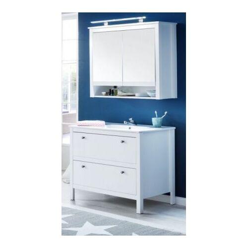 Badmöbel Set Ole weiß 3-teilig inkl. Waschbecken und Spiegelschrank 81 cm