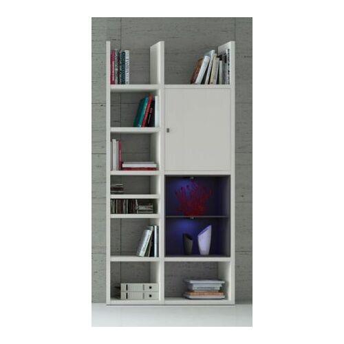 Bücherregal Bücherwand Dekor Lack weiß matt schwarz LED-Beleuchtung Breite 108 cm